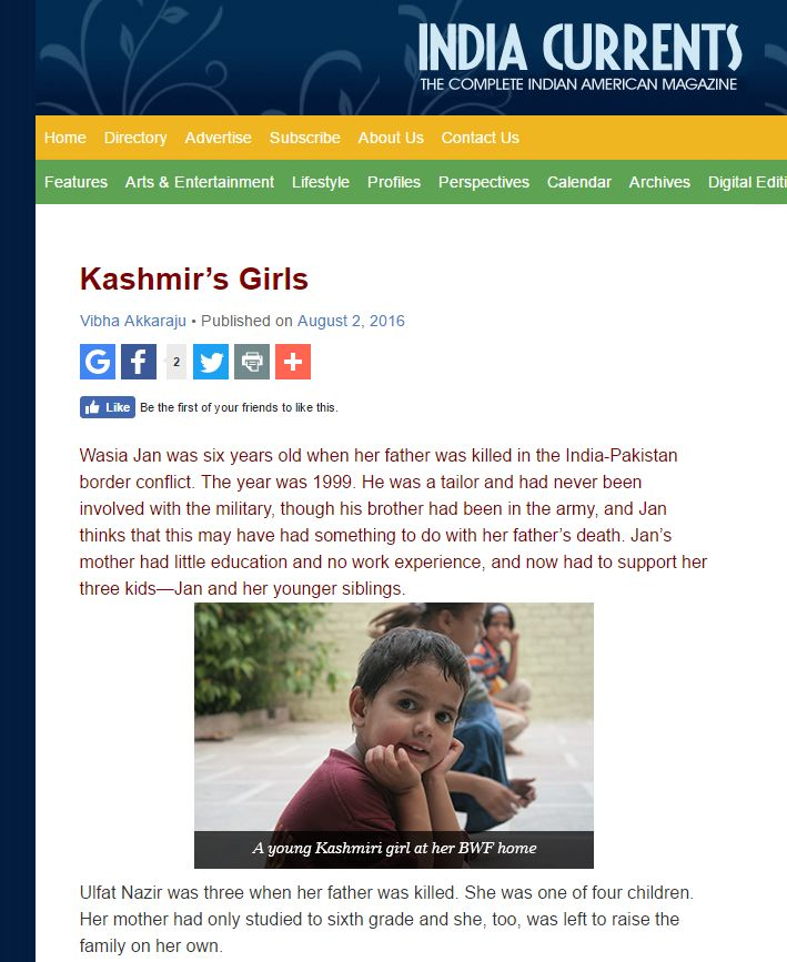 Asha Project BWF Featured In India Currents Magazine