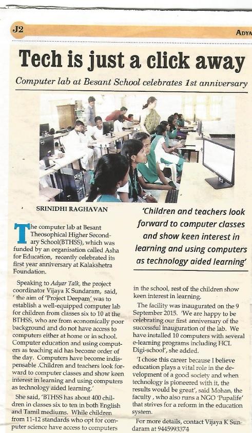 Newspaper clipping of Adyar Talk featuring Asha Chennai